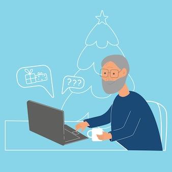 Dziadek z laptopem robi zakupy online na święta sylwestrowe
