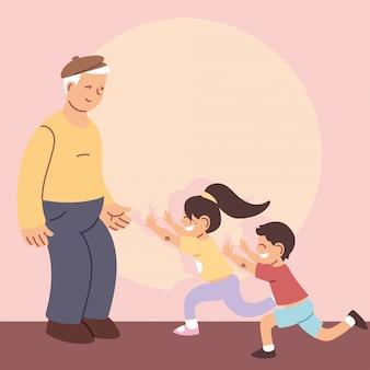 Dziadek z wnukami, szczęśliwy dzień dziadków