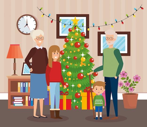 Dziadkowie i dzieci z ubrania grudnia w salonie