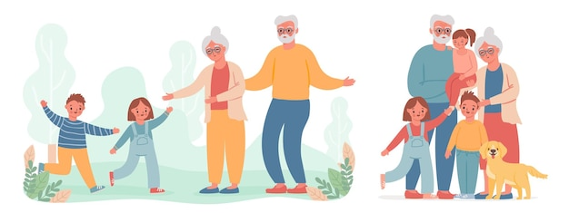 Dziadkowie i wnuki. dzieciak biegnie odwiedzić starą babcię i dziadka. szczęśliwa babcia, dziadek i dzieci portret rodziny wektor. ilustracja babcia babcia z dziećmi, wnukami