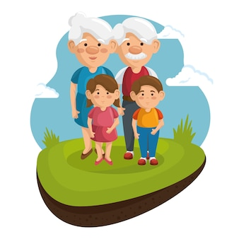 Dziadkowie i wnuki w parku
