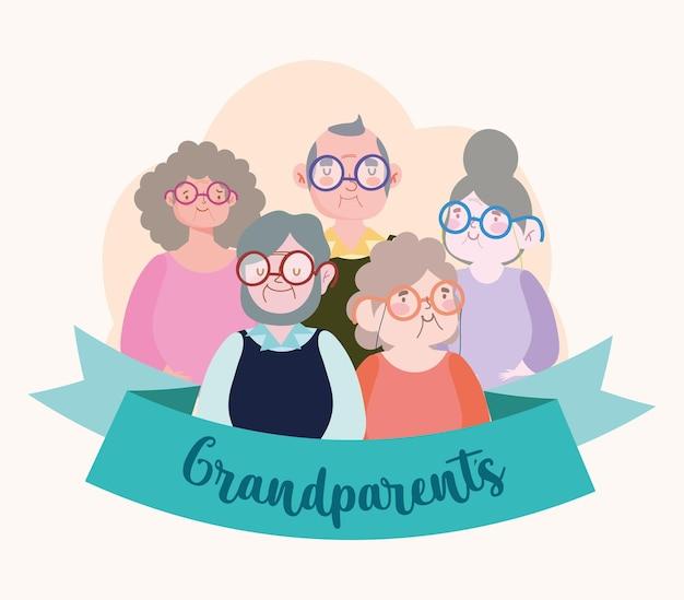 Dziadkowie kreskówka ze wstążką