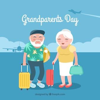 Dziadkowie na tle wakacji