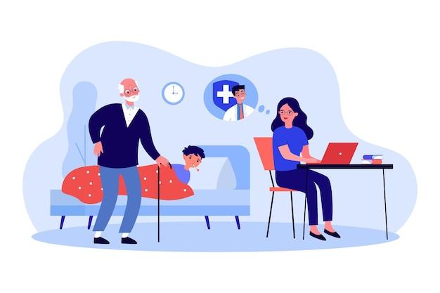 Dziadkowie opiekujący się chorym wnukiem dziecka. kobieta kontaktuje się z lekarzem online na komputerze, konsultując się w sprawie chorego chłopca w łóżku. problem zdrowotny, koncepcja opieki zdrowotnej. ilustracja kreskówka wektor.