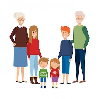 Dziadkowie para z dziećmi