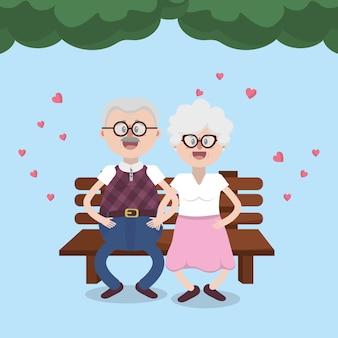 Dziadkowie piękny para
