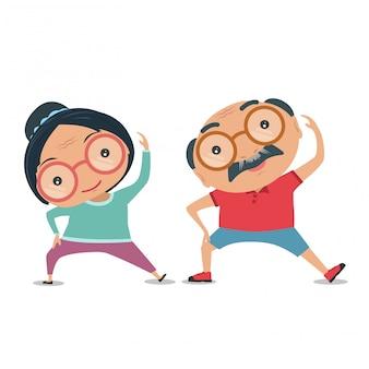 Dziadkowie, starsze osoby starają się być sprawni fizycznie i zdrowi. wektor i ilustracja.