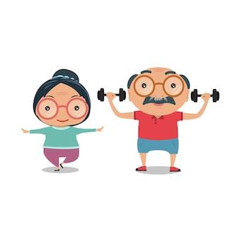 Dziadkowie stary senior pasuje i zdrowy