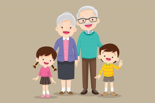 Dziadkowie stojący z wnukami