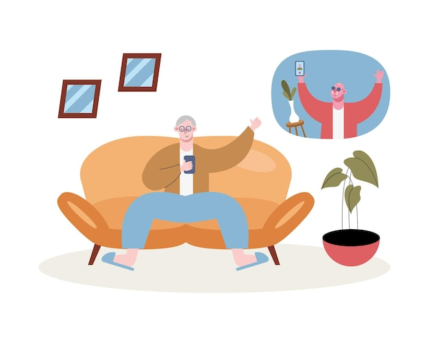 Dziadkowie używający smartfonów do rozmów wideo na ilustracji salonu