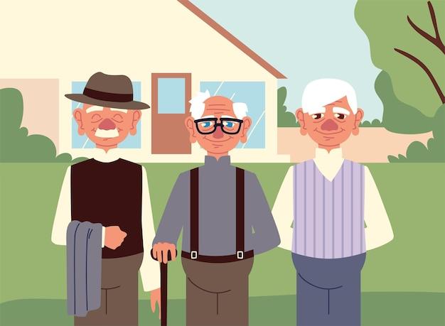 Dziadkowie w przydomowym ogrodzie
