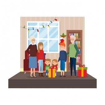 Dziadkowie w salonie z dziećmi