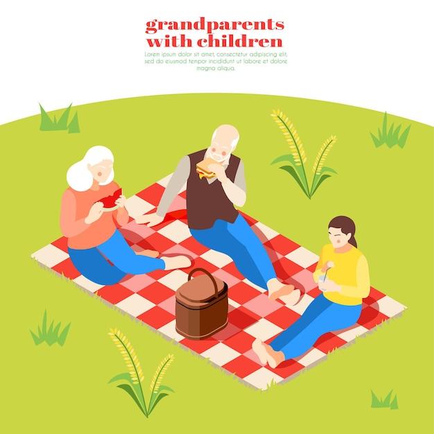 Dziadkowie z dziećmi izometryczna ilustracja z babcią dziadkiem i wnuczką na pikniku