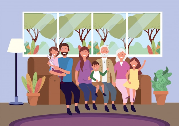 Dziadkowie z kobietą i mężczyzną z dziećmi na kanapie