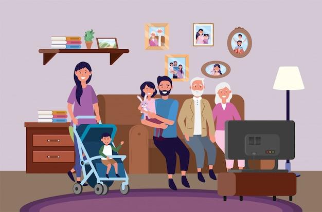 Dziadkowie z kobietą i mężczyzną z dziećmi razem