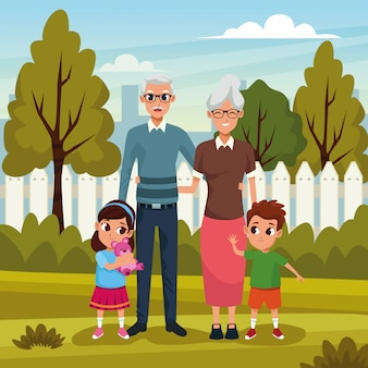Dziadkowie z wnukami w parku