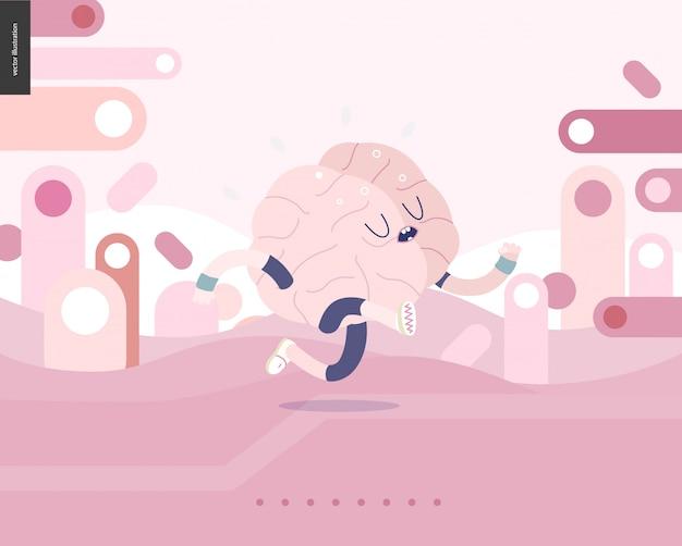 Działający mózg na różowym krajobrazie ilustrował wektorowego sztandar