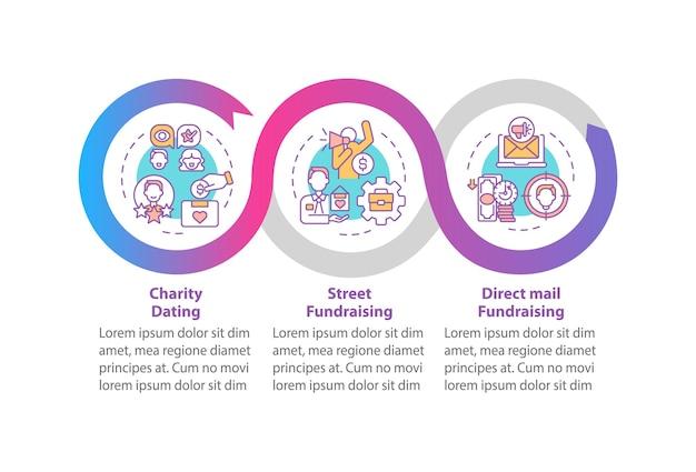Działalność filantropijna wektor infographic szablon. elementy projektu zarys prezentacji randkowej charytatywnej. wizualizacja danych w 3 krokach. wykres informacyjny osi czasu procesu. układ przepływu pracy z ikonami linii