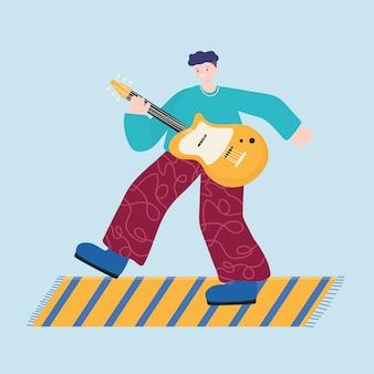 Działalność ludzi, młody człowiek grający na gitarze elektrycznej
