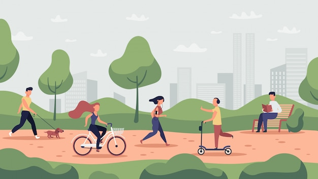 Działalność parkowa. trening sportowy na świeżym powietrzu i zdrowy styl życia, ludzie biegający, jazda na rowerze i jogging, ilustracja działań w parku. aktywność w parku, biegacz i trening, jogging