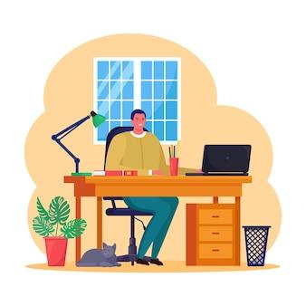 Działalności człowieka pracuje na komputerze przenośnym przy biurku. kierownik siedzi na krześle. miejsce pracy dla pracownika, pracownika. płaska konstrukcja
