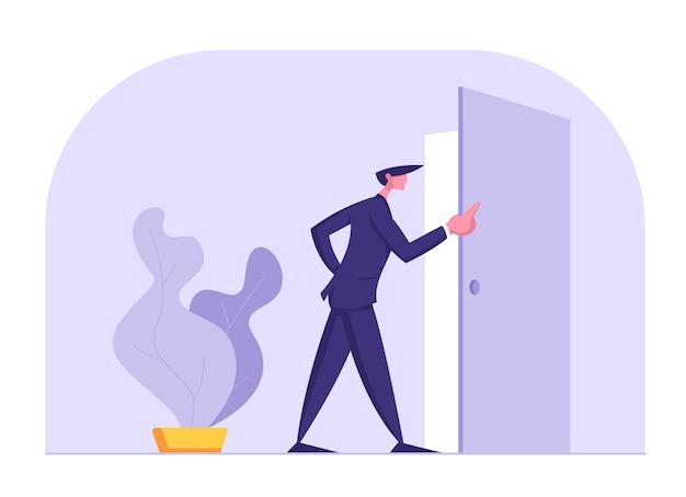 Działalności człowieka w formalnym garniturze stojący przy wejściu drzwi patrząc wewnątrz ilustracji