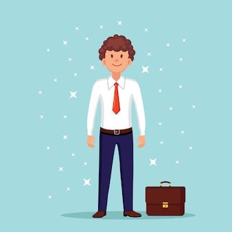 Działalności człowieka z teczką, walizką. charakter managera, przedsiębiorca w garniturze