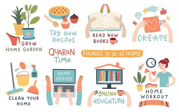 Działania kwarantanny napisy i inne elementy rzeczy do zrobienia w domu ilustracja