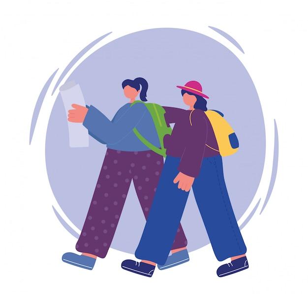 Działania ludzi, młode kobiety chodzące z mapą i ilustracja plecaków