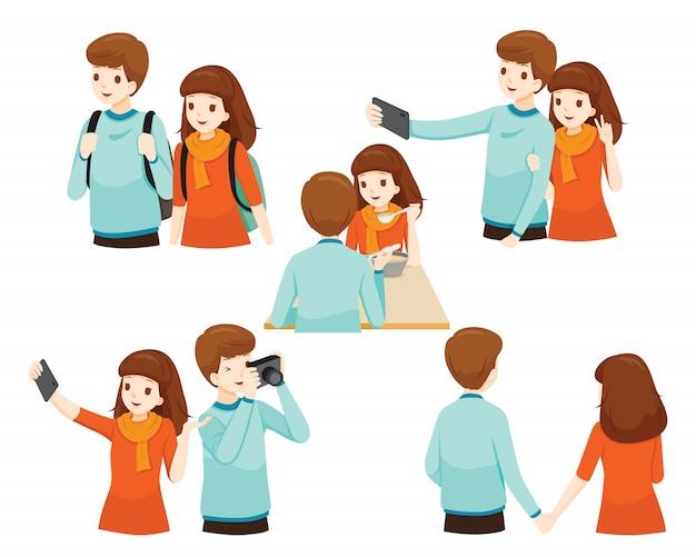 Działania podróżnicze zestawu para podróżnika