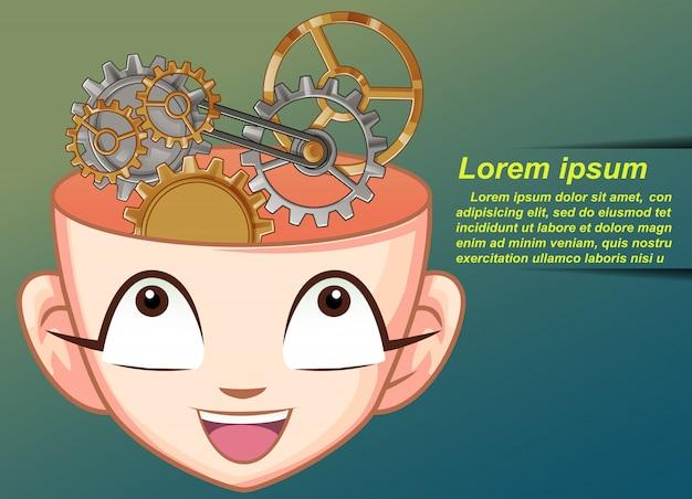 Działanie mózgu wewnątrz głowy.