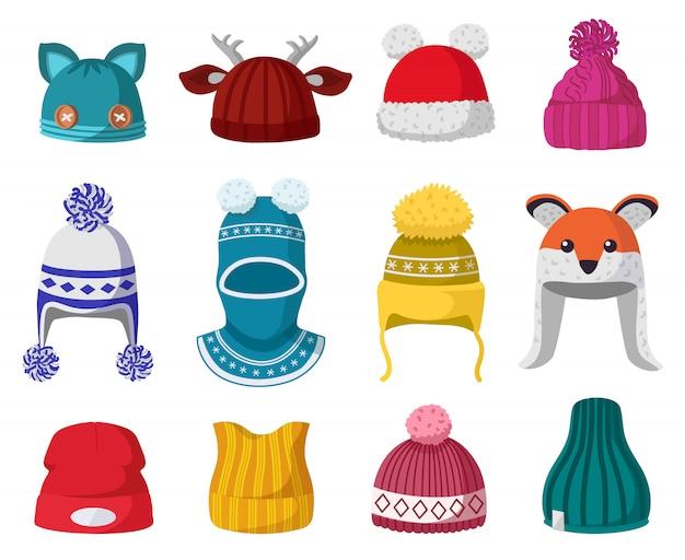 Dziane czapki zimowe. dzieci robią na drutach ciepłe nakrycia głowy, zestaw ikon ilustracji akcesoriów jesienno-zimowych. czapka zimowa i odzież, odzież, dziecięce nakrycia głowy