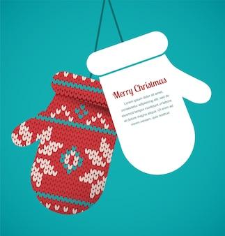 Dziane rękawiczki świąteczne kartkę z życzeniami