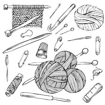 Dzianie i szydełkowanie, szkicowy zestaw rysunków konturowych, ręcznie rysowane elementy dziewiarskie.