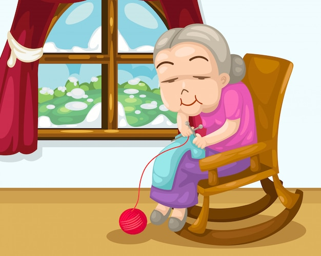 Dzianie wektor babcia