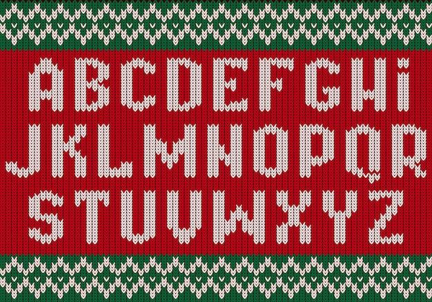 Dzianinowa czcionka. świąteczny alfabet na sweter imprezowy litery ubrania z tkaniny teksturowanej