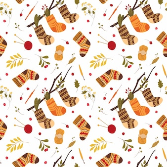 Dzianinowe wełniane skarpetki wzór ciepłe zimowe obuwie z ludowymi ornamentami wiszącymi na drzewie