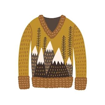 Dzianinowy puszysty ciepły sweter z górami