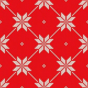 Dzianinowy wzór o tematyce bożonarodzeniowej