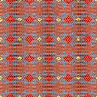 Dzianinowy wzór wełniany z ornamentem narodowej norwegii