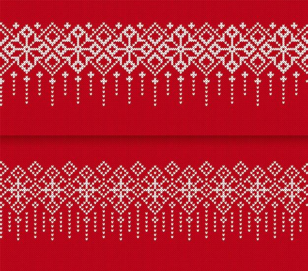 Dzianiny bezszwowe obramowanie wzór. świąteczny czerwony nadruk. ilustracja wektorowa.