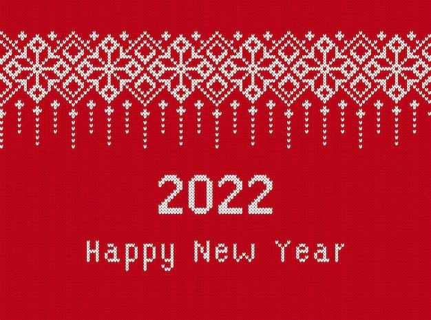 Dzianiny tekstura z tekstem szczęśliwego nowego roku 2022. ilustracja wektorowa.