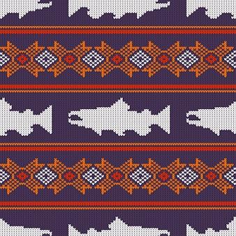 Dzianiny wzór z łososia norweskiego
