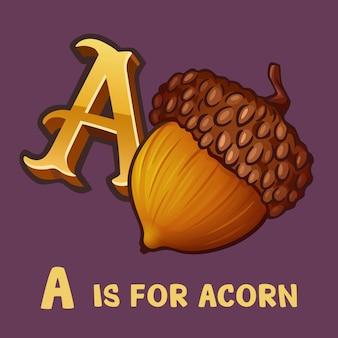 Dzieci alfabet litera a i żołądź