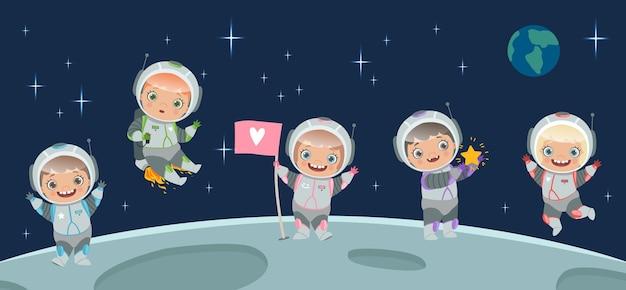Dzieci astronauta na księżycu. ilustracja tła przestrzeni. postać z kreskówki dzieci w skafandrze kosmicznym, podróż kosmiczna