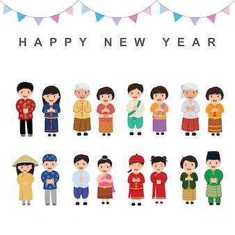 Dzieci azjatyckie w tradycyjnych strojach. wietnam, tajlandia, malezja, filipiny, indonezja