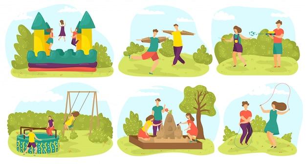 Dzieci bawią się, bawią się latem na placu zabaw na świeżym powietrzu, przyjaciele bawią się w gry w parku, zestaw ilustracji. zabawne dzieci na trampolinie, w ogrodzie, przedszkolu czy wesołym miasteczku.