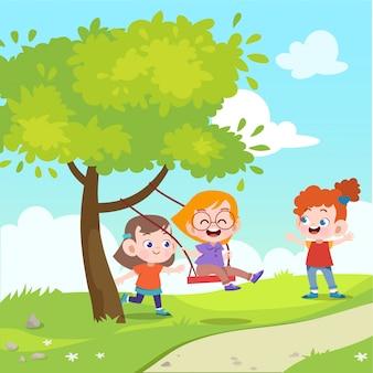 Dzieci bawią się huśtawka w ogrodzie wektorowej