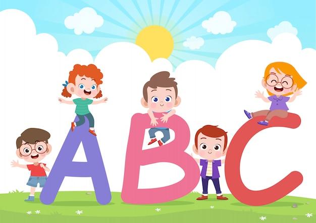Dzieci bawią się ilustracji wektorowych alfabetu