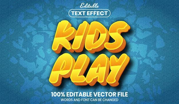 Dzieci bawią się tekstem, edytowalny efekt tekstowy w stylu czcionki